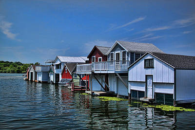Photograph - Canandaigua Lake Boat Houses by Gerald Salamone
