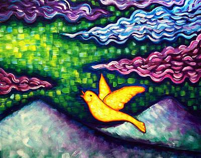 Canary Escapes Coalmine Art Print by Brenda Higginson