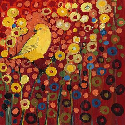 Circle Painting - Canary In Red by Jennifer Lommers