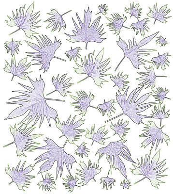 Canary Vine Leaves - Purple And Green Art Print by Sandra Foster
