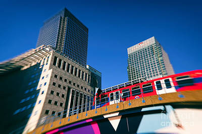 Vivid Colour Photograph - Canary Wharf Commute by Jasna Buncic