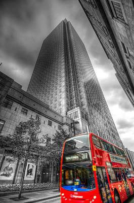 Photograph - Canary Wharf London Bus by David Pyatt