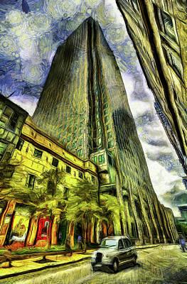 Canary Mixed Media - Canary Wharf London Van Gogh by David Pyatt