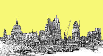 London Skyline Drawing - Canary Yellow London Skyline by Adendorff Design
