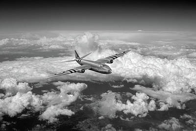 Photograph - Canberra Over The Med Black And White Version by Gary Eason