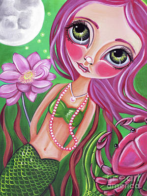 Surrealist Painting - Cancer - Zodiac Mermaid by Jaz Higgins