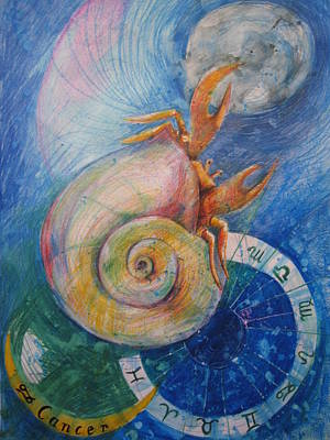 Shell Sign Drawing - Cancer by Brigitte Hintner