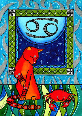 Painting - Cancer Cat Zodiac by Dora Hathazi Mendes