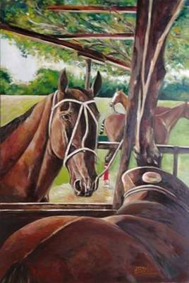 Polo Painting - Cancha Del Rio 4 by Carlos Jose Barbieri