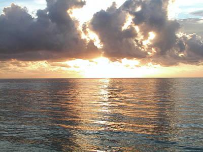 Moon Photograph - Cancun Sunrise by Bill Cannon