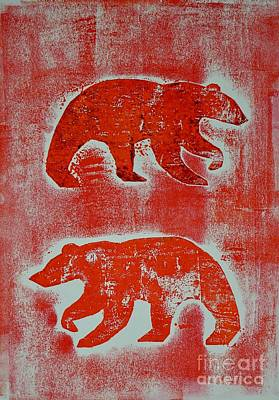 Mixed Media - Candadian Bears Two  by Corina Stupu Thomas