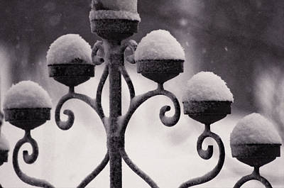 Candelabra In The Snow Print by Susan Maxwell Schmidt