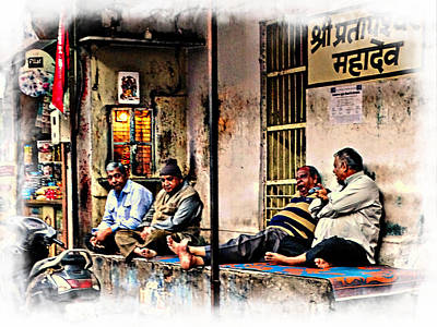 Candid Bored Yawn Pj Exotic Travel Blue City Streets India Rajasthan 1a Art Print