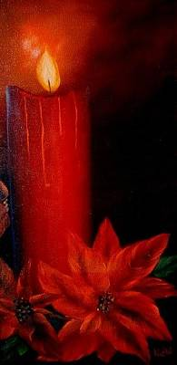 Painting - Candle And Poinsettia by Natascha de la Court