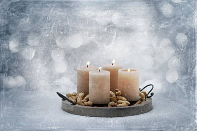 Christmas Candle Photograph - Candle In Snow by Heike Hultsch