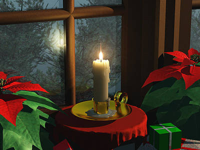 Outdoor Still Life Digital Art - Candle In The Window by Brian Kissinger