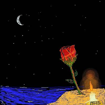 Under The Moon Wall Art - Digital Art - Candle Lit Rose by Marcel Martin