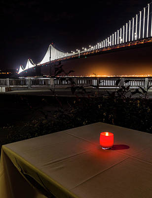 Print featuring the photograph Candle Lit Table Under The Bridge by Darcy Michaelchuk