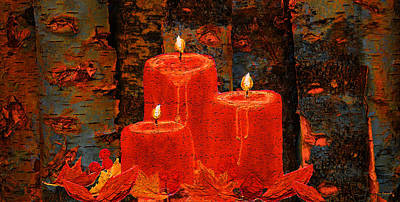 Autumn Painting - Candle On Birch Logs by Ken Figurski