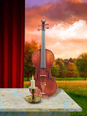 Digital Art - Candle With Violin by Gary Grayson