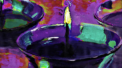 Digital Art - Candlelight In Plum And Mint By Lisa Kaiser by Lisa Kaiser