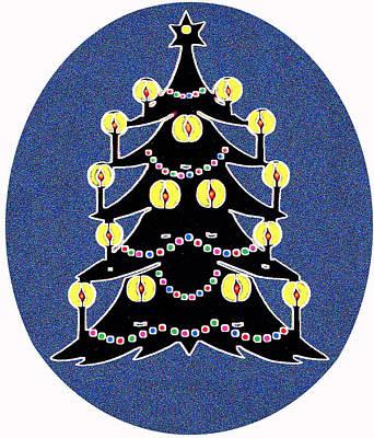 Candlelit Christmas Tree Art Print by Nancy Mueller