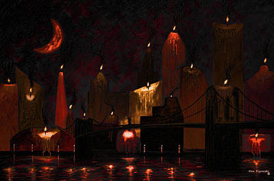 New York City Skyline Mixed Media - Candleopolis Candle Painting by Ken Figurski