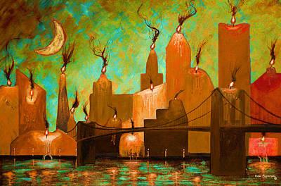 Halloween Painting - Candleopolis Autumn Kingdom by Ken Figurski