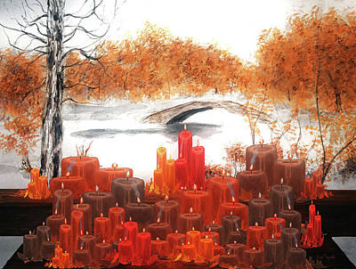 Halloween Painting - Candles At Gapstow Bridge by Ken Figurski