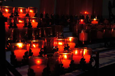 Confession Photograph - Candles In Church by Art Spectrum