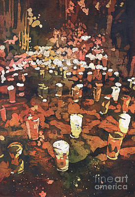 Painting - Candles In Graveyard During Day Of The Dead In Patzcuaro, Mexico by Ryan Fox