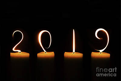 Happy New Year Wall Art - Digital Art - Candles New Year Card by Delphimages Photo Creations