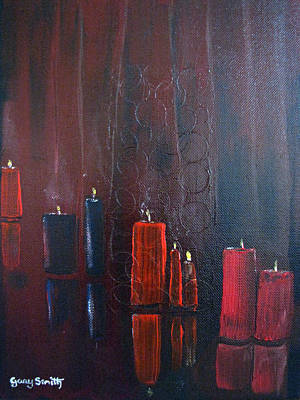 Painting - Candles On Glass by Gary Smith
