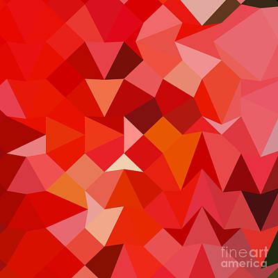 Candy Digital Art - Candy Apple Red Abstract Low Polygon Background by Aloysius Patrimonio