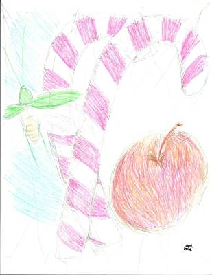 Katydid Drawing - Candy Canes With Katydid For Christmas by Michael Reed