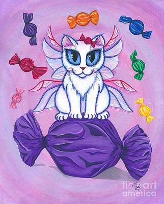 Mixed Media - Candy Fairy Cat, Hard Candy by Carrie Hawks