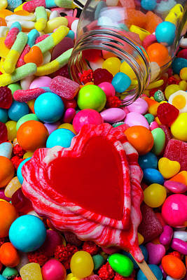 Licorice Photograph - Candy Heart And Jar by Garry Gay