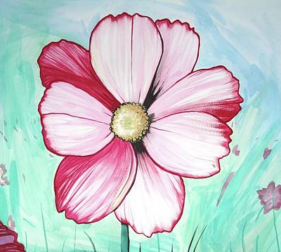 Candy Stripe Cosmos Art Print by Mary Ellen Frazee