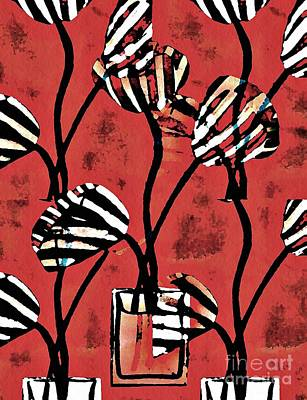 Mixed Media - Candy Stripe Tulips 2 by Sarah Loft