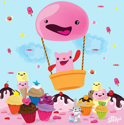 Cartoons Digital Art - Candy World by Seedys World