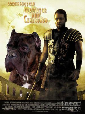 Painting - Cane Corso Art Canvas Print - Gladiator Movie Poster by Sandra Sij