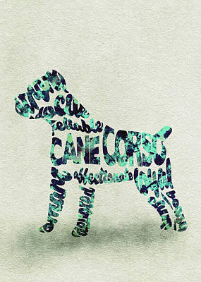 Cane Corso Watercolor Painting / Typographic Art Art Print