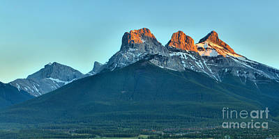 Photograph - Canmore Three Sisters Panorama by Adam Jewell