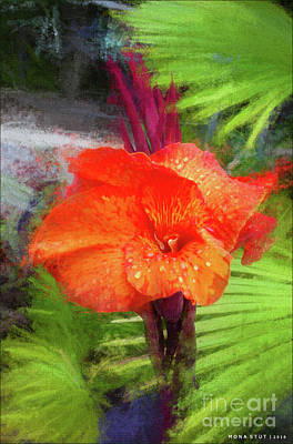 Canna Mixed Media - Canna Lily Red Bloom by Mona Stut