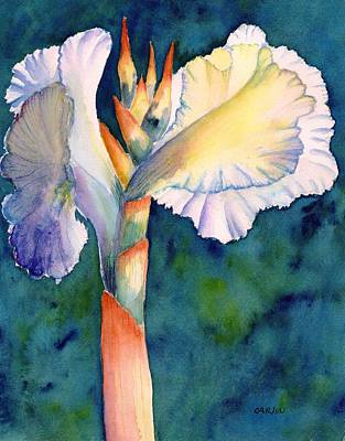 Painting - Canna Flower Watercolor by Carlin Blahnik CarlinArtWatercolor