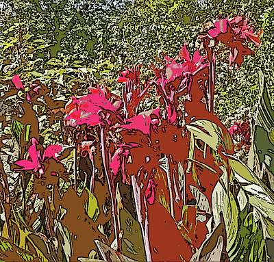 Canna Digital Art - Canna Lilies Cutout With Poster Edges by Marian Bell