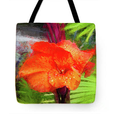 Canna Lily Red Bloom - Tote Art Print