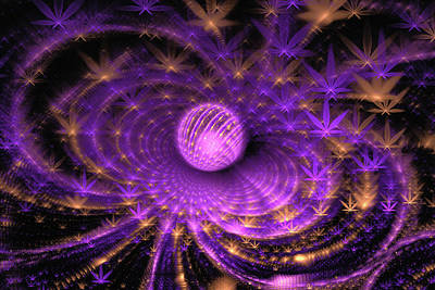 Digital Art - Cannabis Art Purple And Gold by Matthias Hauser