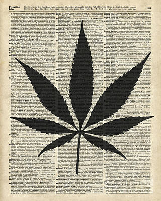Digital Art - Cannabis Plant Stencil by Jacob Kuch