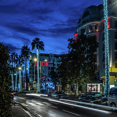 Photograph - Cannes By Night by Nick Bywater